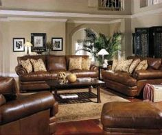 Image detail for -Leather-Living-Room-Furniture Home Design Brown Leather Furniture, Leather Living Room Furniture, Leather Couches, Living Room Paint, New Living Room, Brown Living Room Sofas, Living Room Decor With Brown Leather Sofa, Family Room Decorating, Interior Decorating