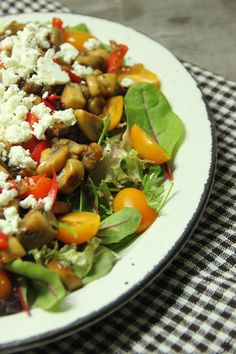 salad with baked mushrooms and feta , vegetarian