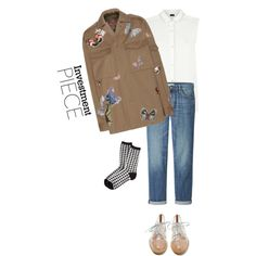 A fashion look from January 2015 featuring white blouse, brown jacket and blue jeans. Browse and shop related looks.