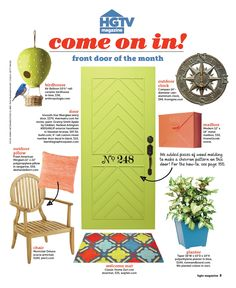 """Therma-Tru Smooth-Star fiberglass door embellished with wood molding featured as HGTV Magazine's """"Front Door of the Month"""" for September 2014."""