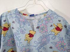 Nurses-Disney-Winnie-the-Pooh-Medical-Scrub-Top-Size-M-V-Neck-Uniform-42-034-Bust