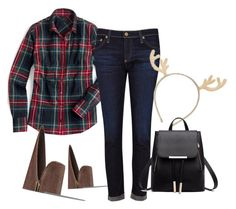 """""""Checkered Christmas Part-ay!"""" by glutathione4dsoul ❤ liked on Polyvore featuring J.Crew, Nine West, AG Adriano Goldschmied and Forever 21"""