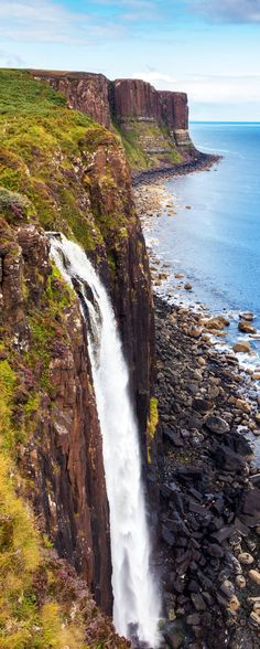 Famous Kilt Rock and a waterfall in the foreground on the Isle of Skye, Scotland     |    19 Reasons Why Scotland Must Be on Your Bucket List. Amazing no. #12