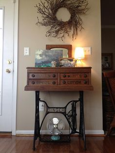 Singer Sewing Machine Treadle Base Meets a Clark's Spool Cabinet... (720×960)