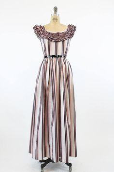 40s Dress McMullen Small Medium / 1940s Vintage Cotton Striped