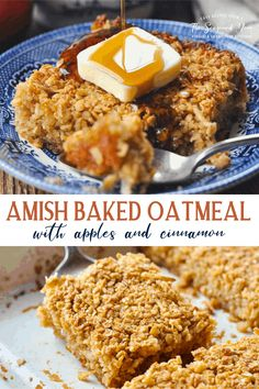 The coziest, easiest make-ahead breakfast casserole -- Amish Baked Oatmeal with Apples and Cinnamon! Oatmeal Recipes Breakfast | Amish Recipes Baked Oatmeal#baked oatmeal#baked oatmeal recipes#baked oatmeal recipes breakfast#baked oatmeal recipes breakfast healthy#brown sugar baked oatmeal Baked Oatmeal Casserole, Amish Baked Oatmeal, Baked Apple Oatmeal, Cinnamon Oatmeal, Breakfast Casserole Easy, Breakfast Bake, Cooking Oatmeal, Oatmeal Cups, Breakfast Buffet