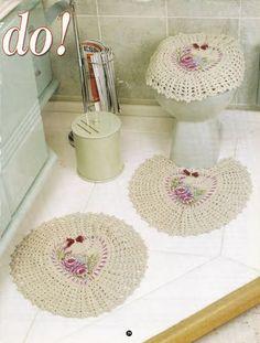 Crochet bathroom set ❤️LCB-MRS❤️ with diagrams. --- Crochê da Reh: Jogo de Banheiro Coração