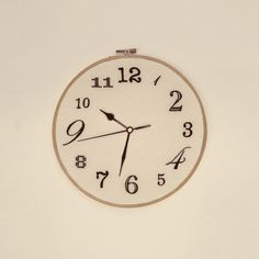 Hand Embroidered Wall Clock. $90.00, via Etsy.  Great to make for sewing and craft room