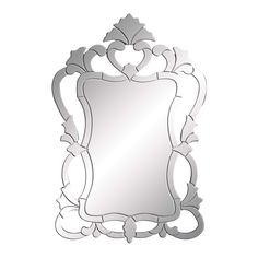 Create a whimsical and charming space in your home with this 48-inch traditional Venetian wall mirror. This rectangular mirror is framed by curling scroll details and cut outs on a wood back.