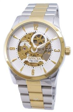 Features:  Stainless Steel Case Two Tone Stainless Steel Bracelet Automatic Movement Caliber: 2650 (Gilt) Flame Fusion Crystal White Dial Analog Display Luminous Hands Pull/Push Crown See Through Case Back Deployment Clasp 50M Water Resistance  Approximate Case Diameter: 42mm Approximate Case Thickness: 14mm