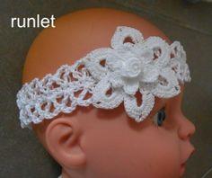 Bandeau pour bebe en coton blanc au crochet* . : Mode Bébé par nata-nata