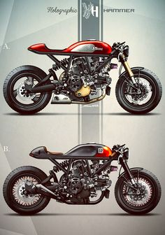 Ducati cafe racers by Holographic Hammer Cafe Bike, Cafe Racer Bikes, Cafe Racer Motorcycle, Motorcycle Art, Motorcycle Design, Bike Design, Concept Motorcycles, Ducati Motorcycles, Ducati Scrambler