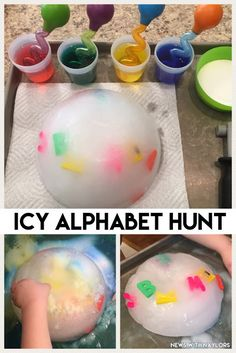 News with Naylors: Letter Q Activities (ages 3 & 23 months) Icy Alphabet Hunt. Really fun letter review activity!