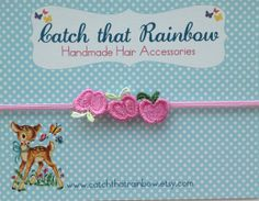 10 OFF Code. Pink Baby headband baby girl by catchthatrainbow