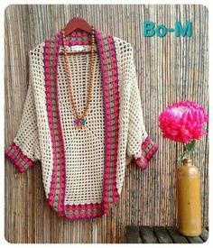 Crochet Cardigan Pattern, Crochet Jacket, Crochet Shawl, Knit Crochet, Crochet Clothes, Diy Clothes, Crochet Designs, Crochet Patterns, Crochet Cocoon