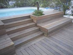 58 Ideas Backyard Patio Ideas Decks Stairs For 2019 House Stairs Backyard Decks Ideas Patio Stairs Backyard Pool Landscaping, Small Backyard Pools, Backyard Pool Designs, Small Pools, Patio Design, Small Patio, Landscaping Ideas, Garden Design, Above Ground Pool Decks