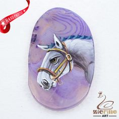 Hand Painted Horse Agate Slice Gemstone Necklace Pendant Jewlery D1706 0162 #ZL #Pendant