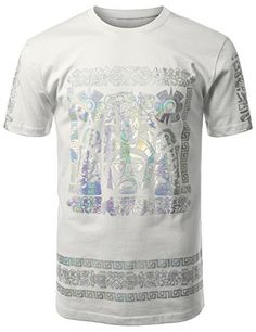 URBANCREWS Mens Hipster Hip Hop Hologram Mayan Aztec Graphic T-shirt