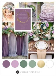 Find beautiful and rustic lavender wedding colors and inspiration for your lavender wedding theme, invitations, decorations, and more. Lavender Wedding Colors, Purple Wedding Cakes, Gold Wedding Theme, Wedding Table, Wedding Flowers, Purple And Green Wedding, Lavender Weddings, Lavender Wedding Decorations, Lavender Wedding Invitations
