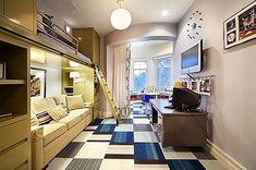 Modern teen bedroom creates lots of usable space including a sofa and study area - Tween/Teen Bunk Beds  Built-Ins