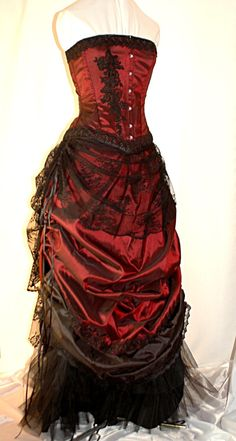Victorian inspired gown in burgundy and black