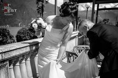 Rebecca and Jhon from australia, intimate wedding in Bellagio lake Como Grand Hotel Villa Serbelloni Wedding Dress Train, Wedding Bride, One Shoulder Wedding Dress, Wedding Dresses, Lake Como Wedding, Grand Hotel, Empire, Villa, Hairstyle