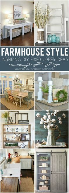 DIY Fixer Upper Farmhouse Style Ideas on Frugal Coupon Living. Homemade and creative ideas inspired by Chuck and Joanna Gaines. Fixer Upper Kitchen. Fixer Upper Living Room. Fixer Upper Home. #HomemadeHouseDecorations,