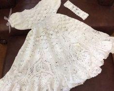 Ganchillo bautizo vestido patrón Crochet bautismo por CrochetGarden
