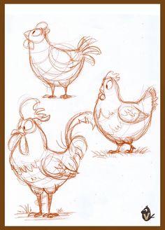Fun studies of chickens. Cartoon Drawings Of Animals, Cute Animal Drawings, Animal Sketches, Pencil Art Drawings, Cartoon Art, Cute Drawings, Cartoon Sketches, Cartoon Faces, Drawing Faces