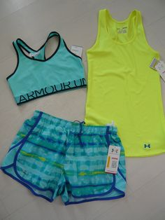 New Under Armour Womens Shorts Escape Tank Top Bra Top Running Set Size s M | eBay
