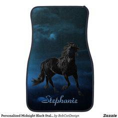 Personalized Midnight Black Stallion Car Floor Mat