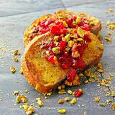 Enjoy this sweet and spicy French toast recipe by A Bachelor & His Grill!  By A Bachelor & His Grill! - The MOST Amazing French Toast with Fresh Cran-Apple Conserve, Roasted Pistachios, Ground Cinnamon/Sugar, & a Pinch of Cayenne. - View the recipe >>> http://abachelorandhisgrill.com/2013/03/french-toast-cranberry-apple-conserve-roasted-pistachios/.html