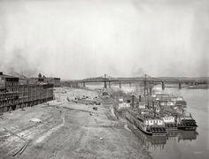 The Ohio River circa 1904. Along the levee, Cincinnati. 8x10 inch dry plate glass negative, Detroit Publishing Company.