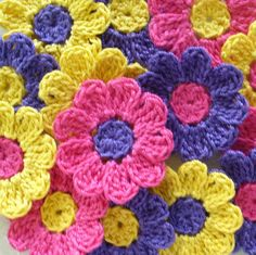 A personal favorite from my Etsy shop https://www.etsy.com/listing/59501438/bright-crochet-flowers-appliques