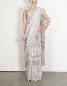 Gold Grid Summer Check Linen Sari-Anavila- img1