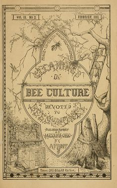 """""""Gleanings in Bee Culture"""". Devoted to Bees and Honey. Published Monthly at Medina, Ohio by A. Terms, One Dollar per Year. Bee Images, Images Vintage, Vintage Bee, Vintage Paper, Vintage Newspaper, Vintage Ephemera, Bee Book, Buzz Bee, I Love Bees"""