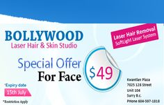 Business logo, profile, digital ads, digital coupons, videos, reviews and map for the Bollywood Laser Hair and Skin Studio at Surrey - British Columbia | Get all these at AzyPages.com i.e. trustworthy platform for all Canadians....