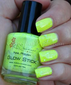 Or you could just break open a glow stick and put it in clear nail polish