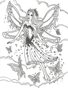 Butterfly Fairy Fairy Fae Fantasy Myth Mythical Mystical Legend Elf Wings Fantasy Elves Faries Coloring pages colouring adult detailed advanced printable Kleuren voor volwassenen coloriage pour adulte anti-stress kleurplaat voor volwassenen