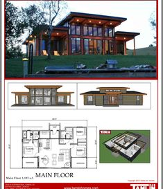 Contemporary Designs Tamlin Homes Timber Frame Home Packages Modern Lake House, Modern Mountain Home, Modern House Plans, Small House Plans, Modern House Design, Modern Style Homes, Contemporary Cottage, Modern Cottage, Small Contemporary House Plans