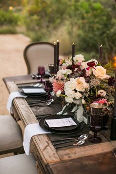 Moody & Rustic Tablescape / Aubergine & Blush / Letterpress Menu / Petite Glass Bottle Place Cards / Bliss & Bone / Krista Jon Florals / Archive Rentals / Esoteric Events / Samuel Lippke Photography