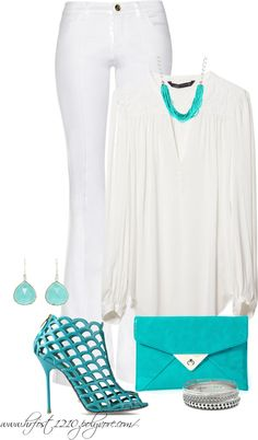 """""""* The Yacht White Party * Touch of Turquoise"""" by hrfost1210 ❤ liked on Polyvore"""