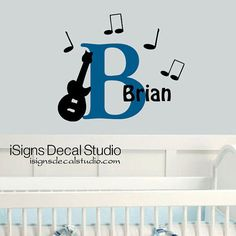 Cute replacement for the hanging nursery letters GUITAR MUSIC DECAL  Music Nursery Decal   by iSignsDecalStudio, $28.50