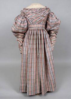 1830s Day Dress, Full Sleeves, Gathered High Waist, Woven Chequered Fabric.  whitakerauction.smugmug.com