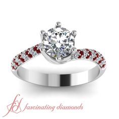 Round Cut Diamonds and Red Ruby 14K White Gold Side Stone Engagement Ring in Pave Setting    Swirl Pave Ring