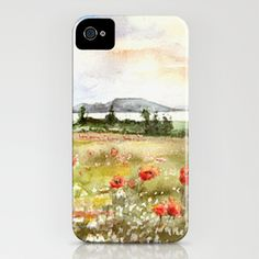 Poppies at the Lake Balaton iPhone Case by Vargamari - $35.00 - Watercolor from the Hungarian series
