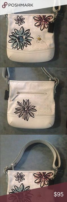 Coach bee and flowers white purse bag Great condition. Embossed flowers. Coach Bags Shoulder Bags