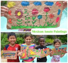 Look at a traditional Mexican folk art: amate bark paintings. Find out the history, view examples, and make your own amate craft for kids! Mexican Crafts, Mexican Folk Art, Art Activities For Kids, Art For Kids, Culture Activities, Summer Activities, Hispanic Art, Spanish Art, Spanish Class