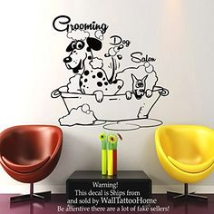 Wall Decals Dog Grooming Salon Decal Vinyl Sticker Pet Shop Scissors Home Decor Interior Design Art Mural MN480 *** You can get more details by clicking on the image.