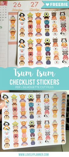 FREE tsum tsum checklist stickers to download and print for your planner! Pdf and studio files included. More planner freebies and ideas on lovelyplanner.com